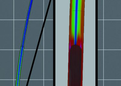 Spannungsverteilung im Mast während einer Prüfung